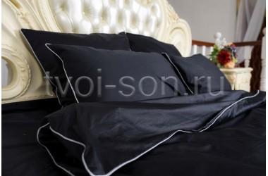 Стильное черное постельное белье.