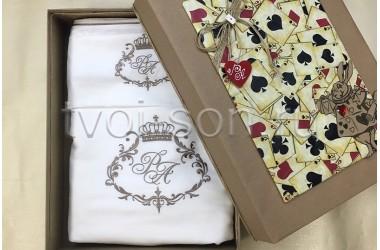 Подарок на свадьбу. Постельное белье из тенселя, вышивка и кант