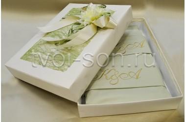 Постельное белье из сатина оливкового цвета (хлопок 100%)