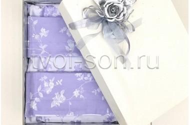Постельное белье Сакура Лаванда в подарочной коробке.