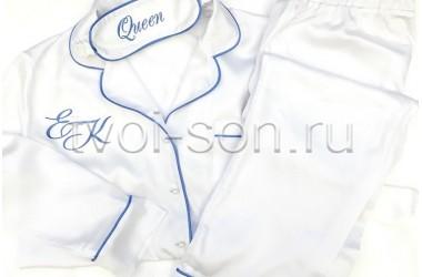 Пижама из белого тенселя. Декор кантом и вышивкой.