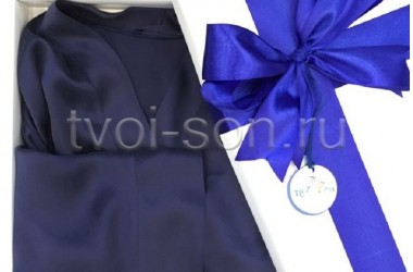 Женская пижама из натурального темно-синего шелка