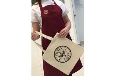 Фартук и холщовая сумка для магазина-пекарни Азбука хлеба.