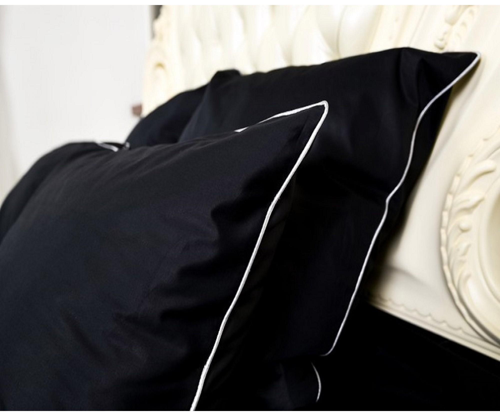 Постельное белье «Only Black» с кантом